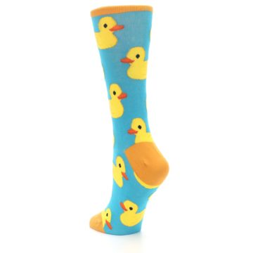 Image of Turquoise Yellow Rubber Ducky Women's Dress Socks (side-2-back-15)