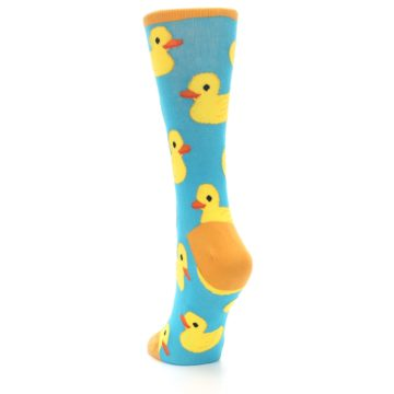Image of Turquoise Yellow Rubber Ducky Women's Dress Socks (side-2-back-16)