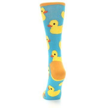 Image of Turquoise Yellow Rubber Ducky Women's Dress Socks (back-17)