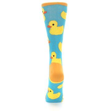 Image of Turquoise Yellow Rubber Ducky Women's Dress Socks (back-18)
