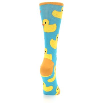 Image of Turquoise Yellow Rubber Ducky Women's Dress Socks (side-1-back-20)