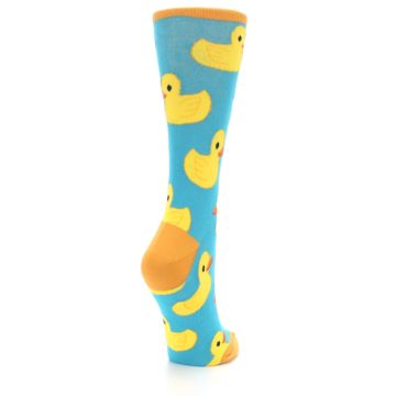 Image of Turquoise Yellow Rubber Ducky Women's Dress Socks (side-1-back-21)