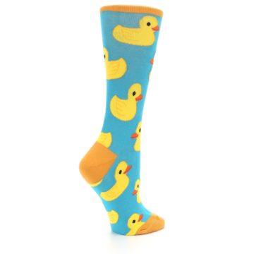 Image of Turquoise Yellow Rubber Ducky Women's Dress Socks (side-1-23)