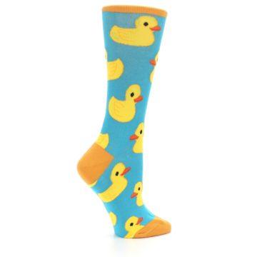 Image of Turquoise Yellow Rubber Ducky Women's Dress Socks (side-1-24)