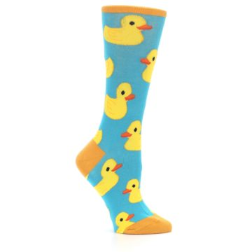 Image of Turquoise Yellow Rubber Ducky Women's Dress Socks (side-1-25)