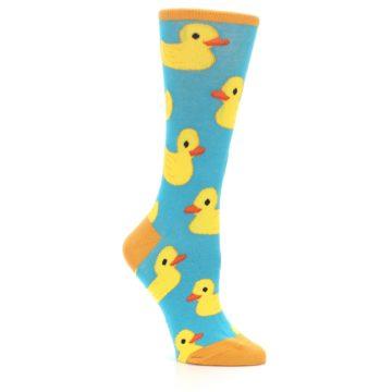 Image of Turquoise Yellow Rubber Ducky Women's Dress Socks (side-1-26)