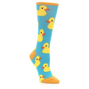 Image of Turquoise Yellow Rubber Ducky Women's Dress Socks (side-1-27)