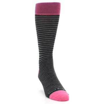 Image of Black Grey Pink Stripe Wool Men's Socks (side-1-front-03)