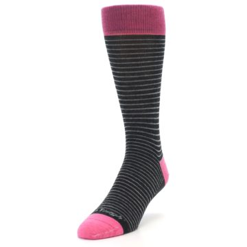 Image of Black Grey Pink Stripe Wool Men's Socks (side-2-front-07)