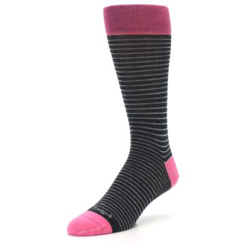 Image of Black Grey Pink Stripe Wool Men's Socks (side-2-front-08)