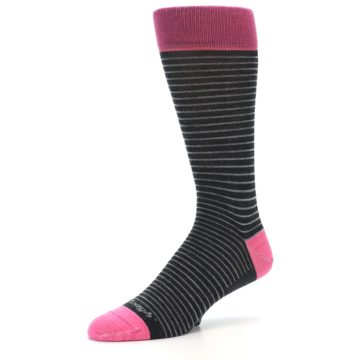 Image of Black Grey Pink Stripe Wool Men's Socks (side-2-09)