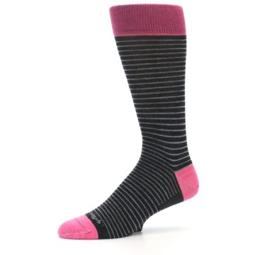 Image of Black Grey Pink Stripe Wool Men's Socks (side-2-10)