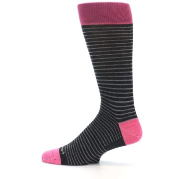Image of Black Grey Pink Stripe Wool Men's Socks (side-2-12)