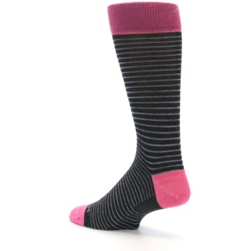 Image of Black Grey Pink Stripe Wool Men's Socks (side-2-back-14)
