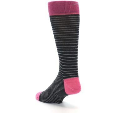 Image of Black Grey Pink Stripe Wool Men's Socks (side-2-back-15)
