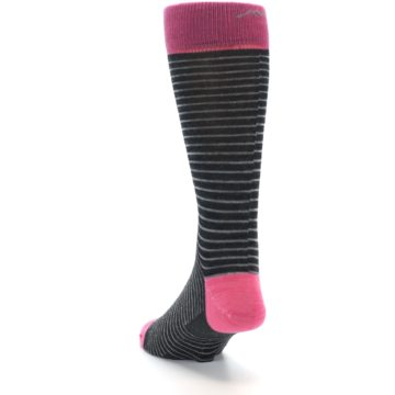 Image of Black Grey Pink Stripe Wool Men's Socks (side-2-back-16)