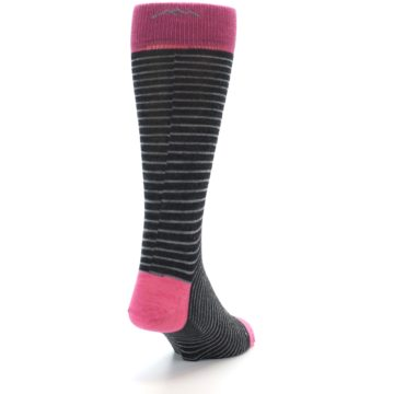 Image of Black Grey Pink Stripe Wool Men's Socks (side-1-back-20)