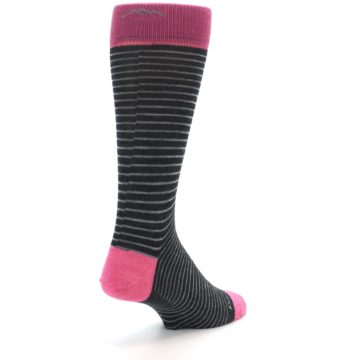 Image of Black Grey Pink Stripe Wool Men's Socks (side-1-back-21)