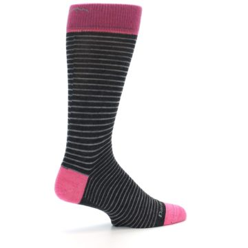 Image of Black Grey Pink Stripe Wool Men's Socks (side-1-23)