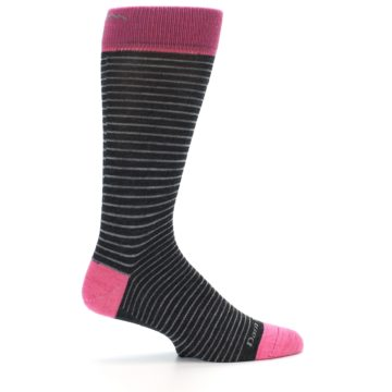 Image of Black Grey Pink Stripe Wool Men's Socks (side-1-24)