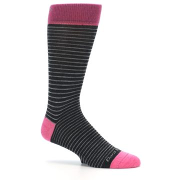 Image of Black Grey Pink Stripe Wool Men's Socks (side-1-25)