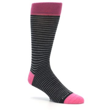 Image of Black Grey Pink Stripe Wool Men's Socks (side-1-26)