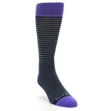 Image of Navy Aqua Purple Stripe Wool Men's Socks (side-1-front-02)