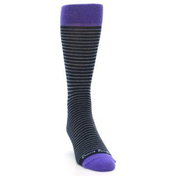 Image of Navy Aqua Purple Stripe Wool Men's Socks (side-1-front-03)