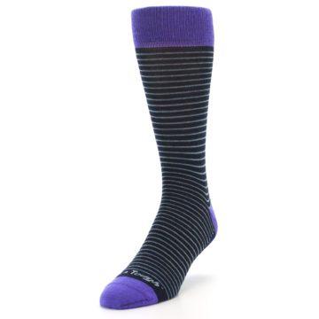 Image of Navy Aqua Purple Stripe Wool Men's Socks (side-2-front-07)