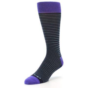 Image of Navy Aqua Purple Stripe Wool Men's Socks (side-2-front-08)
