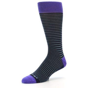 Image of Navy Aqua Purple Stripe Wool Men's Socks (side-2-09)