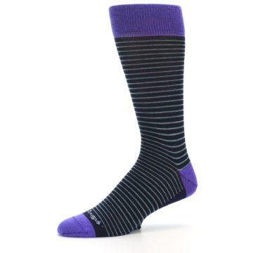 Image of Navy Aqua Purple Stripe Wool Men's Socks (side-2-10)