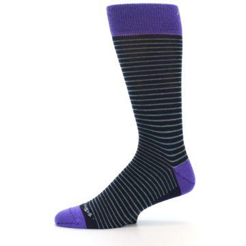 Image of Navy Aqua Purple Stripe Wool Men's Socks (side-2-11)