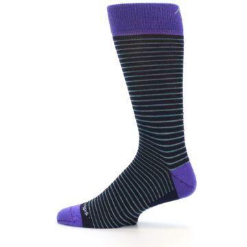 Image of Navy Aqua Purple Stripe Wool Men's Socks (side-2-12)