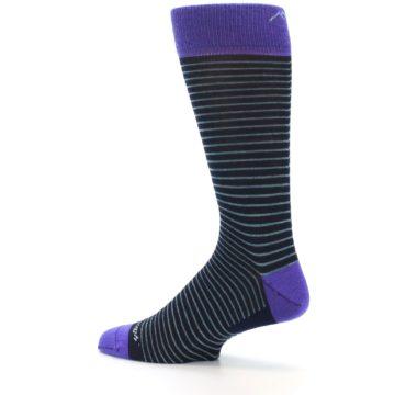 Image of Navy Aqua Purple Stripe Wool Men's Socks (side-2-13)