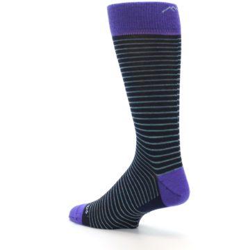Image of Navy Aqua Purple Stripe Wool Men's Socks (side-2-back-14)