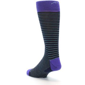 Image of Navy Aqua Purple Stripe Wool Men's Socks (side-2-back-15)
