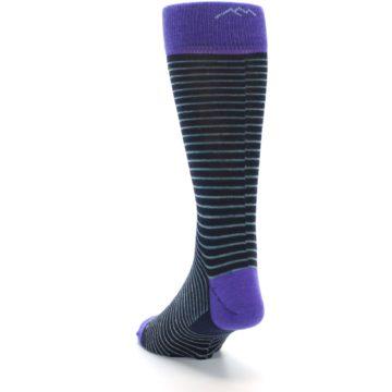 Image of Navy Aqua Purple Stripe Wool Men's Socks (side-2-back-16)