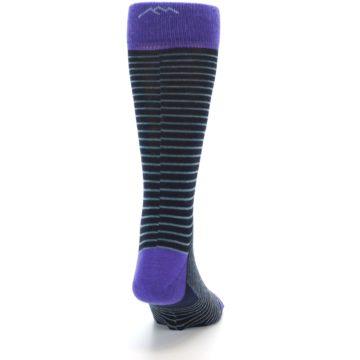 Image of Navy Aqua Purple Stripe Wool Men's Socks (back-19)