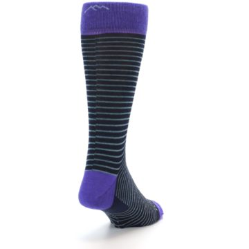 Image of Navy Aqua Purple Stripe Wool Men's Socks (side-1-back-20)