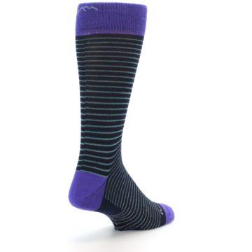 Image of Navy Aqua Purple Stripe Wool Men's Socks (side-1-back-21)