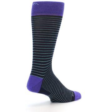 Image of Navy Aqua Purple Stripe Wool Men's Socks (side-1-back-22)