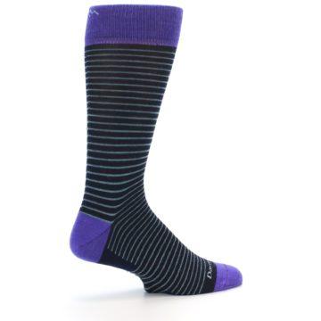Image of Navy Aqua Purple Stripe Wool Men's Socks (side-1-23)