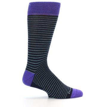 Image of Navy Aqua Purple Stripe Wool Men's Socks (side-1-24)