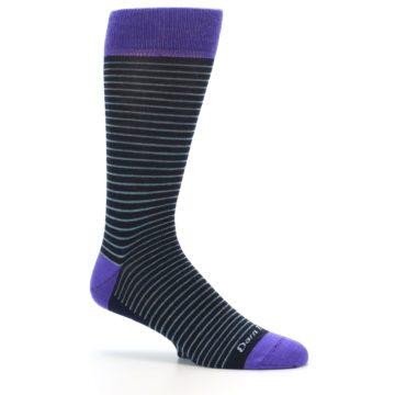 Image of Navy Aqua Purple Stripe Wool Men's Socks (side-1-25)