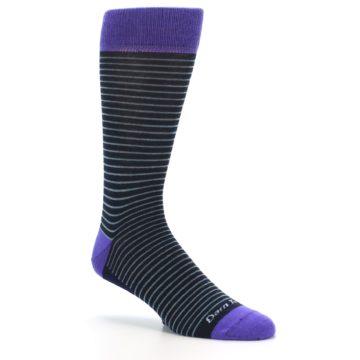 Image of Navy Aqua Purple Stripe Wool Men's Socks (side-1-26)