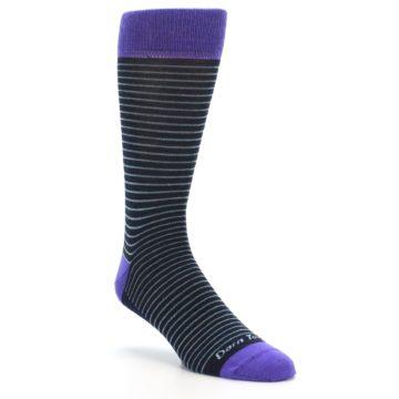 Image of Navy Aqua Purple Stripe Wool Men's Socks (side-1-27)