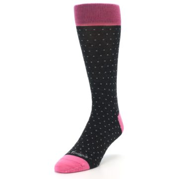Image of Charcoal Pink Polka Dot Wool Men's Socks (side-2-front-07)