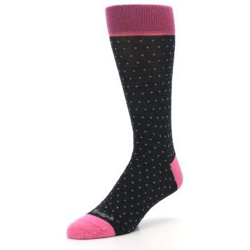 Image of Charcoal Pink Polka Dot Wool Men's Socks (side-2-front-08)