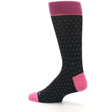 Image of Charcoal Pink Polka Dot Wool Men's Socks (side-2-13)